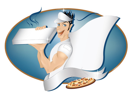 Pizza delivery boy with copy space Vector