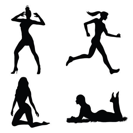 Set di silhouette donna