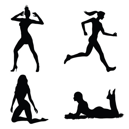 Woman silhouette set  Vector