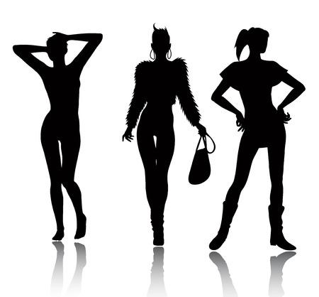 modelo en pasarela: Conjunto de silueta de mujer de moda Vectores