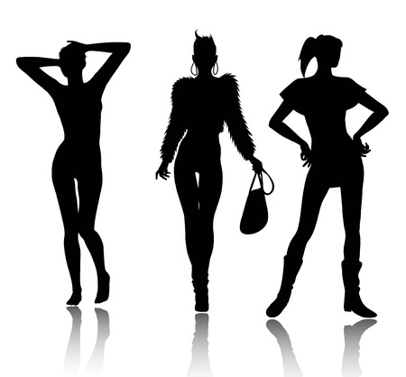 Fashion woman silhouette set Stock Vector - 6570700
