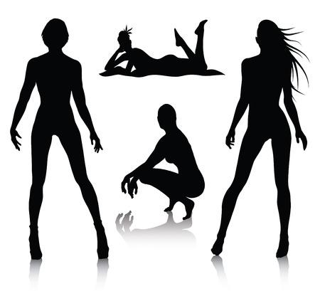 silhouette femme: Jeu de silhouette de femme  Illustration