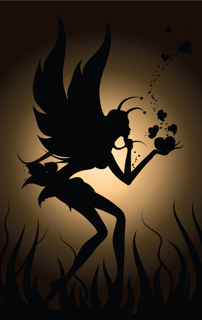 fairy silhouette:   Fairy in love Illustration