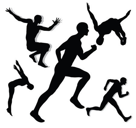 man falling:   Action man silhouettes Illustration