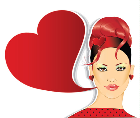 hair pins:   Retro woman with speech bubble Illustration