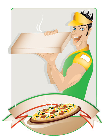 fast delivery: Pizza delivery boy