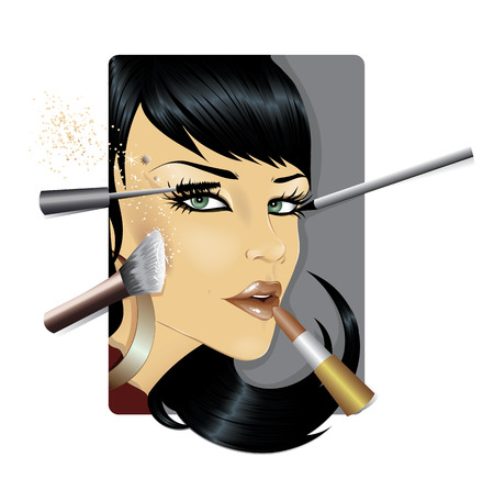 make up brush: Maquillaje Vectores
