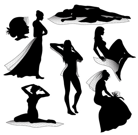 Romantic woman silhouettes Vector