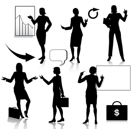 active arrow: Business women silhouettes set Illustration