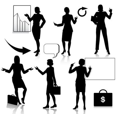 siluetas mujeres: Conjunto de siluetas de mujeres de negocios  Vectores