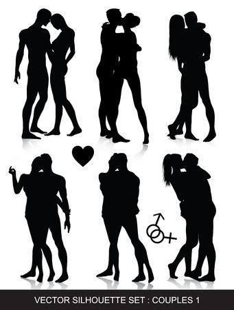 sexo femenino: amor, pareja, sexy, silueta, San Valentín, hombres, mujer, beso, alegría, arte, sexo, abrazo, fecha, pose, signo, desnudo, macho, chica, cuerpo, adulto, ligar, corazón, desnudo, amour, vector, personas, hembra, figura, sexual, persona, amantes, erótica, pasión, sensual, aislado, mar