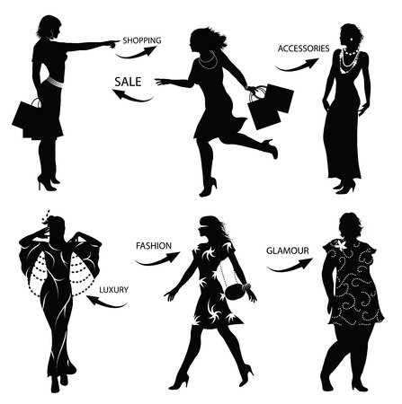 girl wearing glasses:   Fashion shopping woman silhouettes Illustration