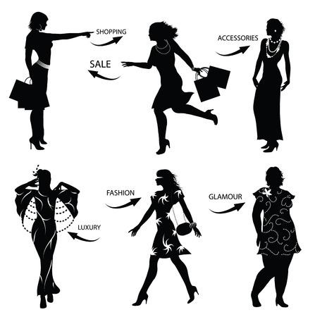 fashion shopping: Moda mujer siluetas de compras  Vectores