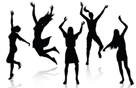 feste feiern: Gl�cklich aktive Frauen Silhouetten