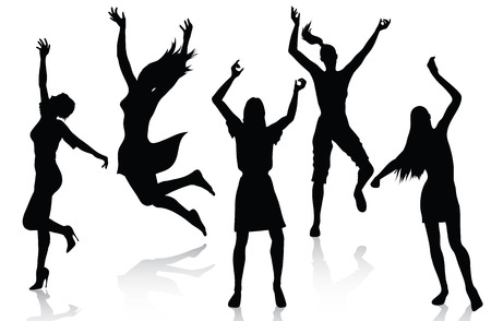 gente celebrando: Siluetas de mujeres activas feliz