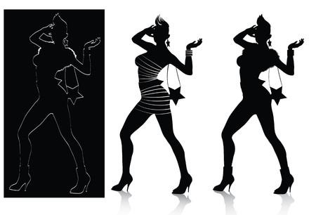fashion silhouette:  Fashion Silhouette Set Illustration