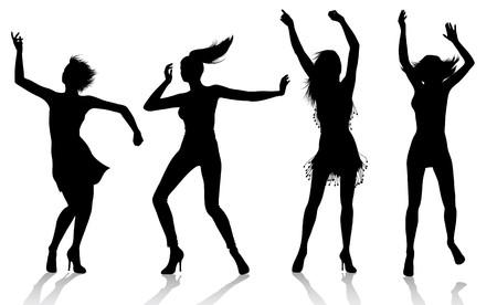 Dancing Girl Silhouettes Stock Vector - 7547670