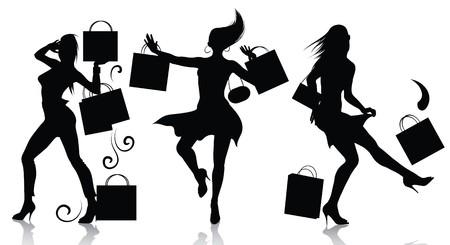 compras chica: Girl siluetas de compras  Vectores