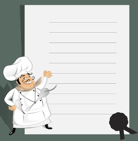 italian chef:  Chef With Recipe Illustration