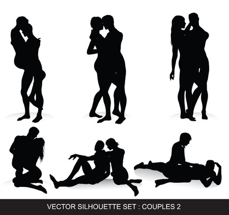 nude male:  Couple Silhouettes Set Illustration