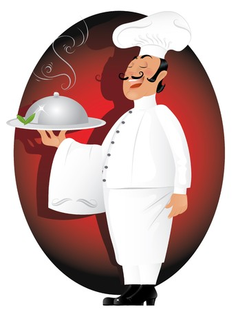 french symbol: illustration of professional chef serving delicious meal