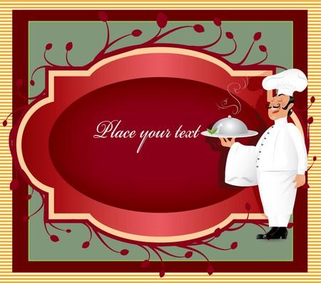 french label: Chef con etiqueta  Vectores