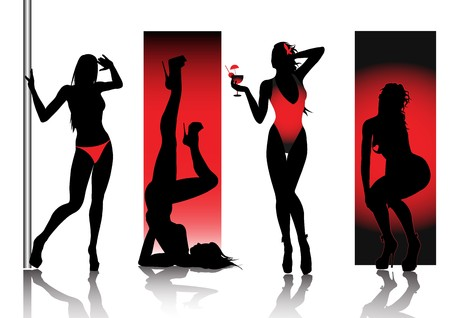 stripper:  Sexy Silhouettes In Red Stock Photo