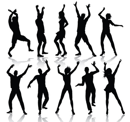 Dancing People Silhouettes Stock Vector - 7756389