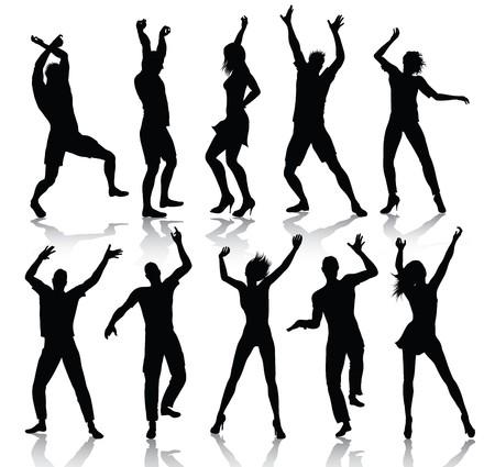 Tanzen People Silhouettes  Vektorgrafik