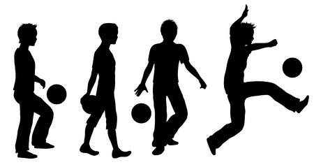 playing games: Boys Playing Ball Silhouette Set