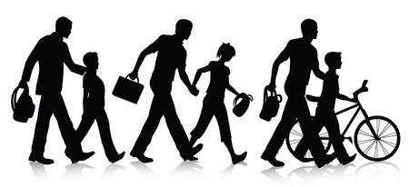 leaving: Gaan naar school silhouet tes  Stock Illustratie
