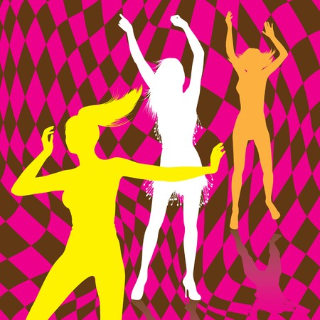 Retro Dancing Girl Silhouettes Vector