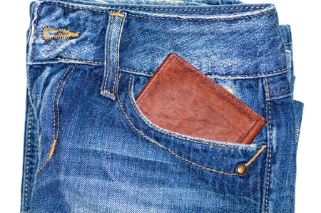 unworn: Jeans Pocket And Wallet Stock Photo