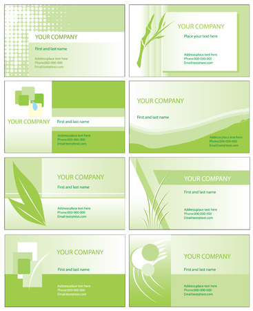 Green business cards Vector