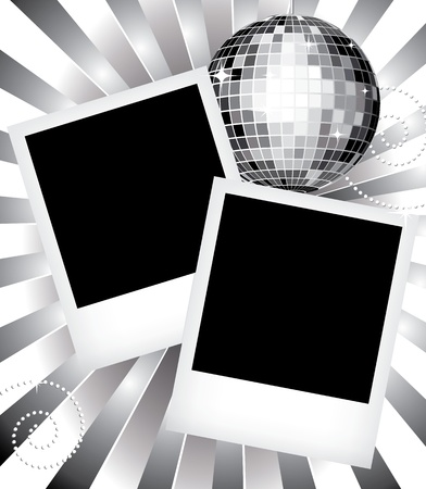 Vintage photo frames and disco ball