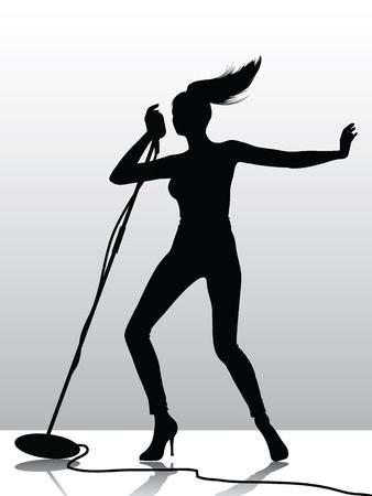 Female singer silhouette Stock Vector - 8381774
