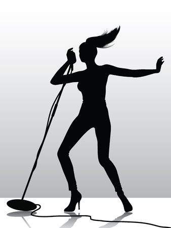 rocker girl: Silueta de la cantante femenina