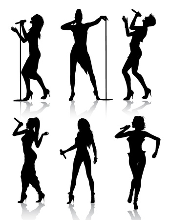 singer with microphone:  silhouette set of female singers