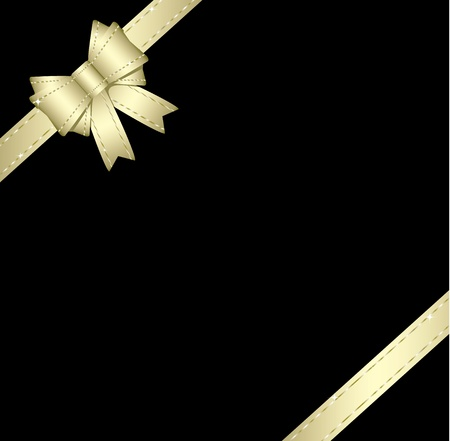 black ribbon bow: Golden gift ribbon and bow isolated on black background