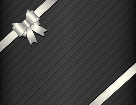 Silver ribbon on gift paper vector illustration Vector
