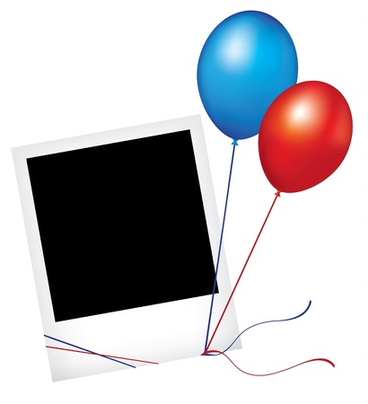 Photo frame polaroid with balloons isolated on white background Vector