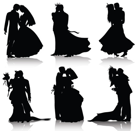 Wedding silhouettes isolated on white background Vector