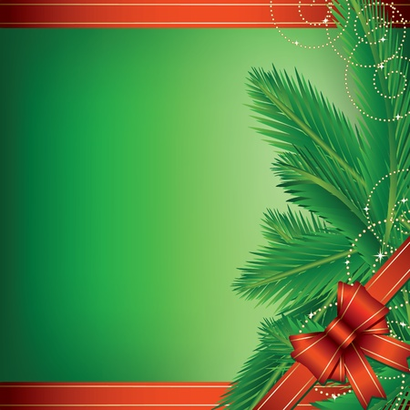 Christmas background with pine leaves and bow Vector