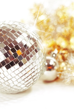 Christmas background with disco ball and decoration photo
