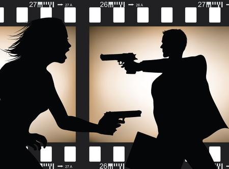 Film scene silhouette Stock Vector - 8500182