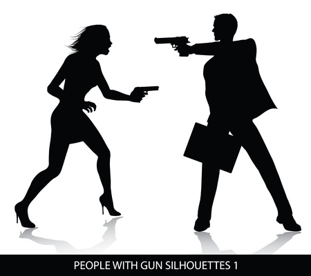 People with gun silhouettes  Vector