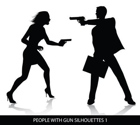 uccidere: Persone con sagome di pistola