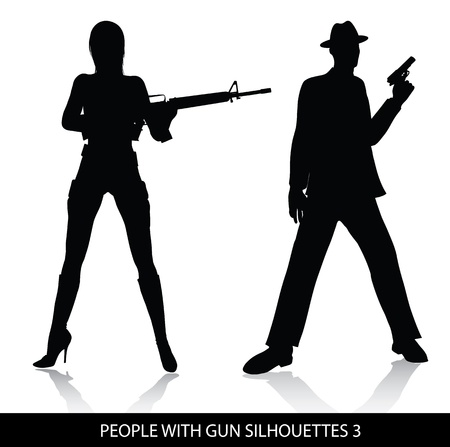 People with gun silhouettes  Stock Vector - 8500181