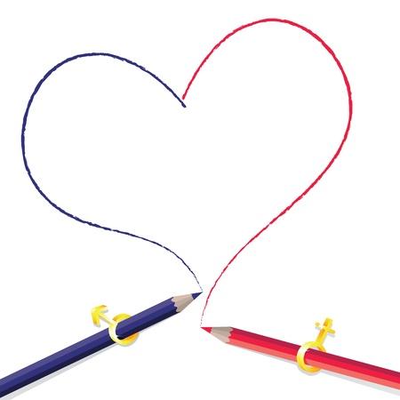 Crayon drawing heart Stock Vector - 8567257