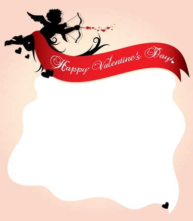 valentines holiday: Cupid silhouette with red ribbon and background illustration
